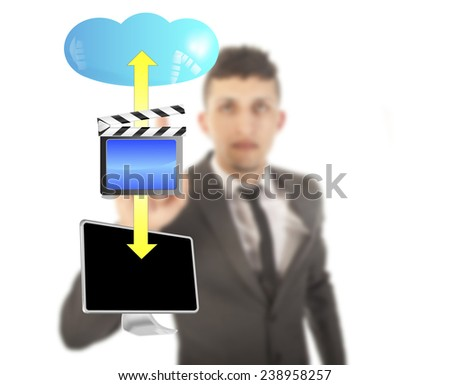 Young man with streaming video symbol isolated on white background - stock photo