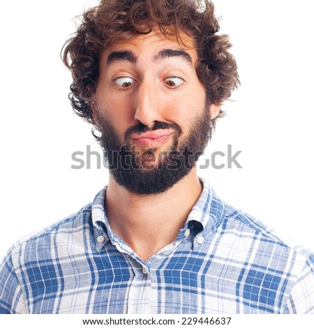 young man with stupid face - stock photo