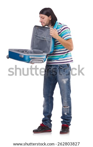 Young man with suitcase isolated on white - stock photo
