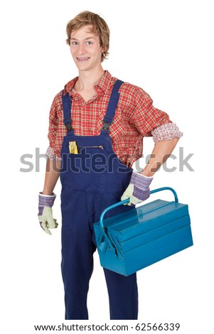 Young man with tool box in his hand - isolated on white - stock photo