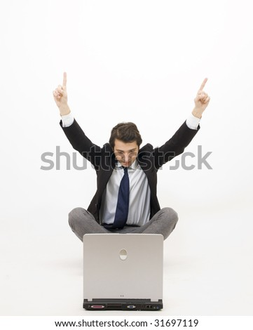young manager with computer - stock photo