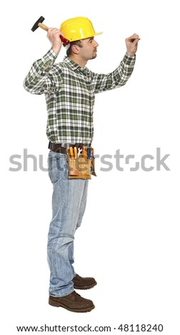 young manual worker with hammer and nail isolated on white - stock photo