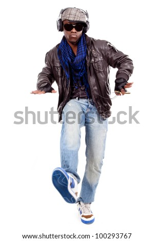 young men dancing to the music - stock photo