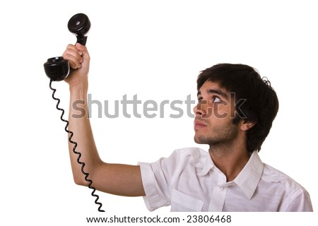 young men giving the telephone receiver to someone out there (selective focus) - stock photo