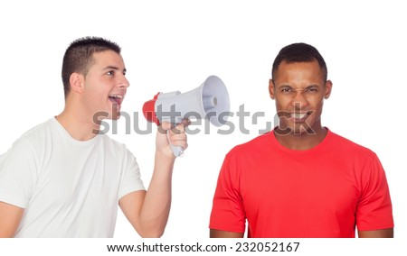 Young men screams to his angry friend through a megaphone isolated on a white background - stock photo