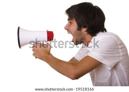 young men shouting at the megaphone (selective focus) - stock photo