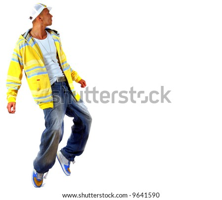 Young Michael Jackson Young man with clothes in hip-hop style showing a dance move while jumping over pure white background. - stock photo