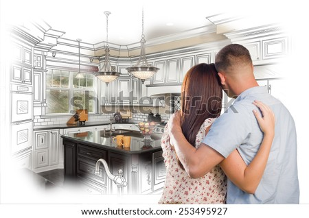 Young Military Couple Looking Inside Custom Kitchen and Design Drawing Combination. - stock photo