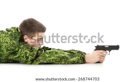 young military man with gun, isolated on white - stock photo