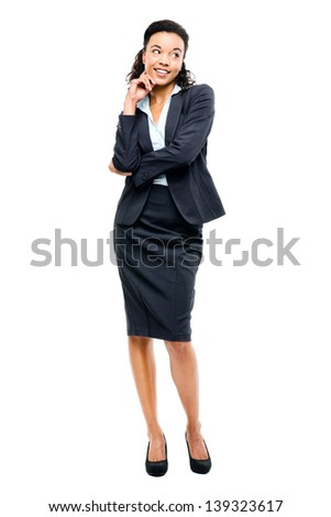 Young mixed race businesswoman smiling isolated on white background - stock photo