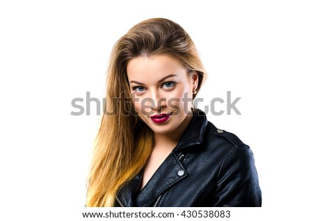 Young model with clean skin. Portrait in studio isolated on white background. - stock photo