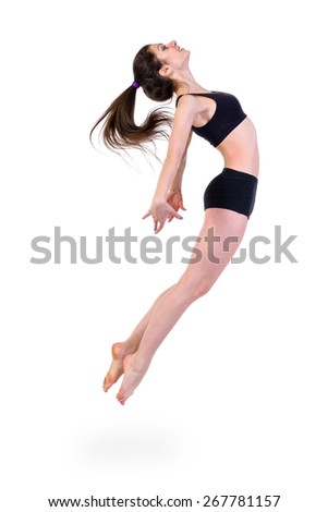 young modern ballet dancer jumping, ,  full length portrait isolated over white background - stock photo