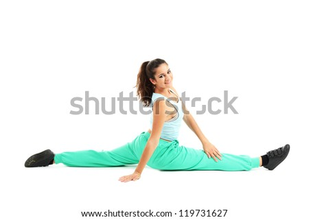 young modern dancer  posing, isolated on white - stock photo