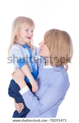 Young mom talk with child, isolated - stock photo