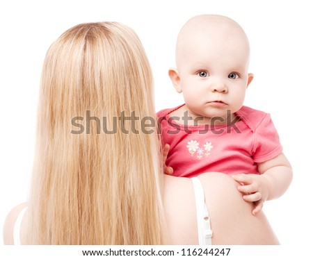 young mother and baby, isolated on white background - stock photo