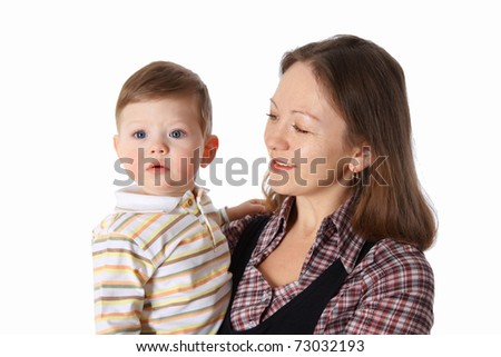 Young mother spend time with her little son - stock photo