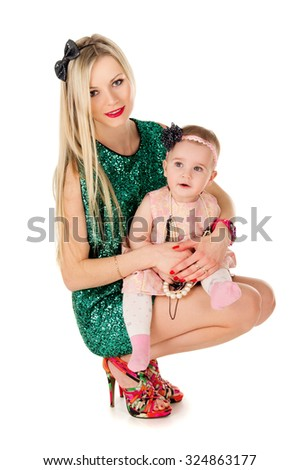 Young mother with baby - stock photo