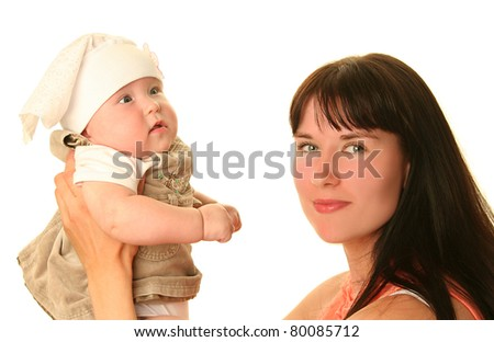 young mother with baby on white background - stock photo