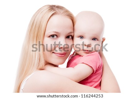 young mother with her eight months old baby, isolated on white background - stock photo