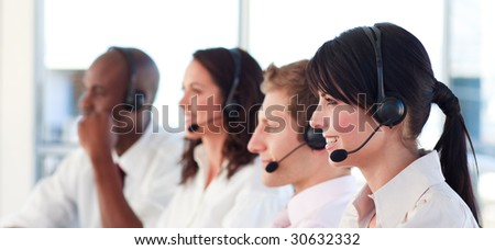 Young Motivated business team - stock photo