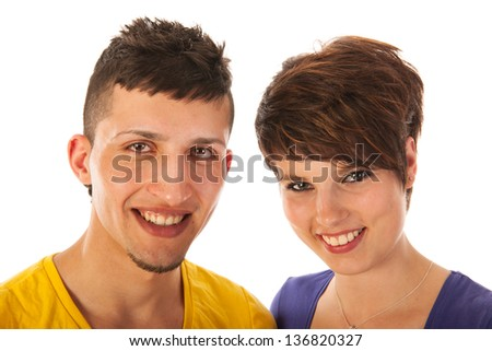 Young multicultural couple isolated over white background - stock photo