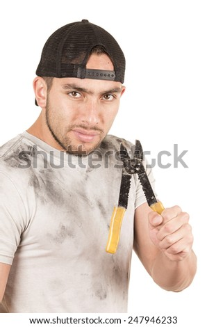 young muscular latin construction worker holding pliers isolated on white - stock photo