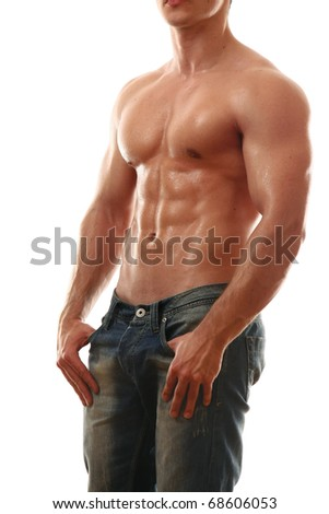 young muscular man - stock photo