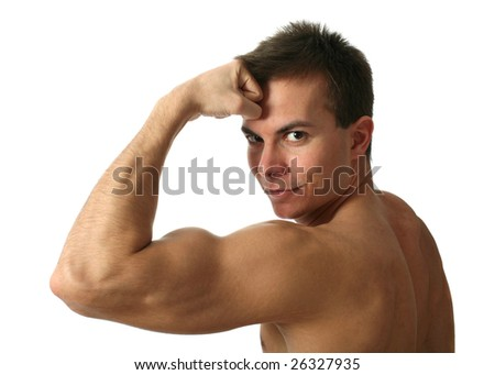 Young muscular man showing his biceps isolated on white - stock photo