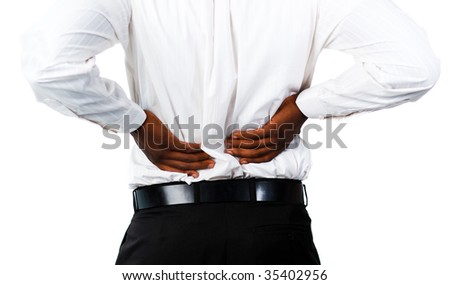Young Muscular man with backpain - stock photo