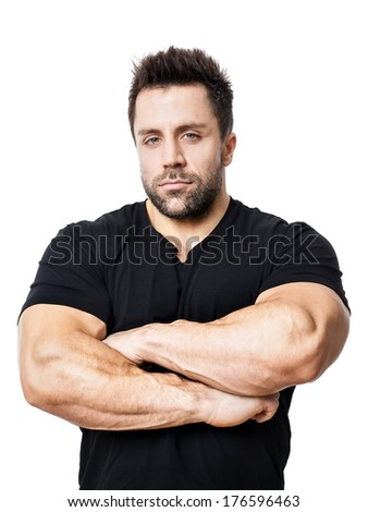 Young, muscular sports man. - stock photo