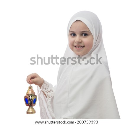 Young Muslim Girl  in Hejab with Ramadan Lantern Isolated on White Background - stock photo