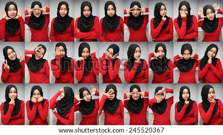 Young muslim woman showing multiple face expression wearing red shirt and black scarf - stock photo