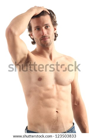 Young naked sexy man on a white isolated background - stock photo