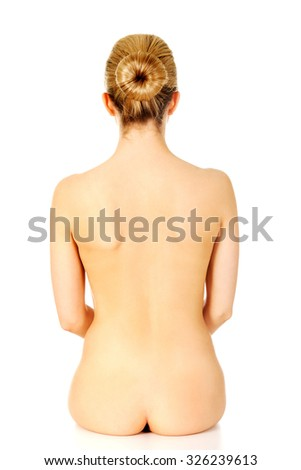 Young naked woman back and bottom.  - stock photo