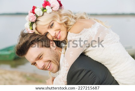 Young newly married couple - stock photo