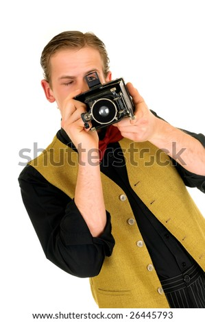 Young news reporter, retro vintage style with antique camera, white background - stock photo