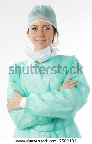 young nurse just after operation in surgery - stock photo