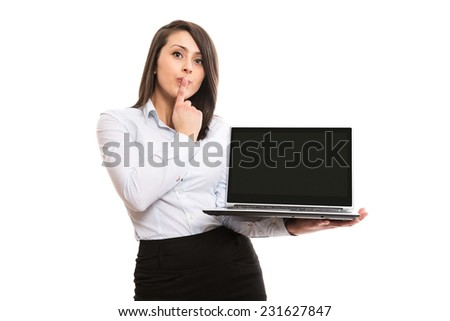 Young office worker wondering with notebook - stock photo