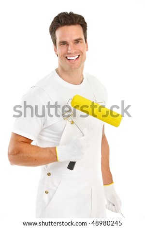 Young painter man in white suit. Isolated over white background - stock photo