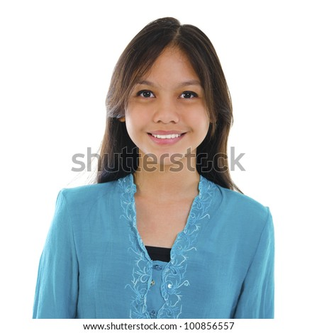 Young Pan asian teen isolated on white background - stock photo