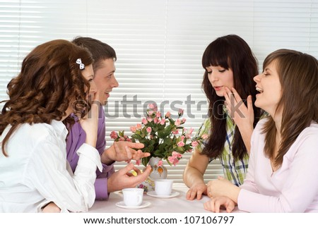 Young people came to the favourite cafe - stock photo