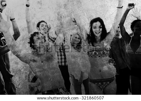 Young people enjoying a summer beach party Concept - stock photo