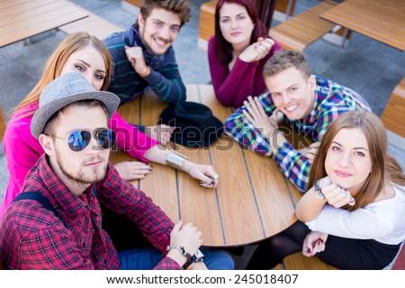 Young people enjoying and having fun - stock photo