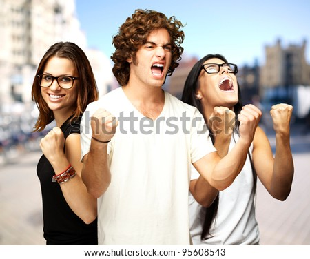 young people enjoying at city - stock photo