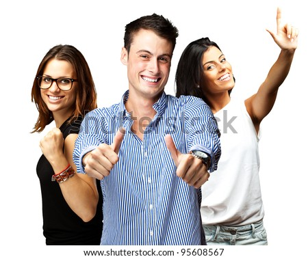 young people enjoying over white background - stock photo