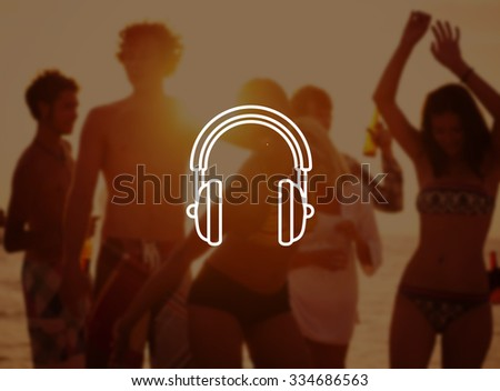 Young People Enjoying Summer Beach Party Concept - stock photo