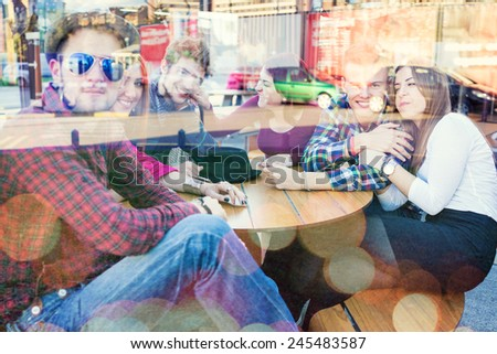 Young people enjoying together and having fun with double exposure - stock photo