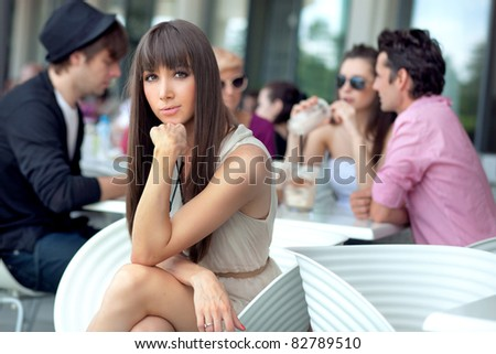 Young people having lunch break - stock photo