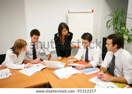 Young people in a business meeting - stock photo