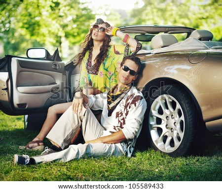 Young people in sunglasses - stock photo